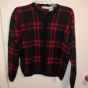 Talbots | Red Plaid Cardigan Sweater Medium